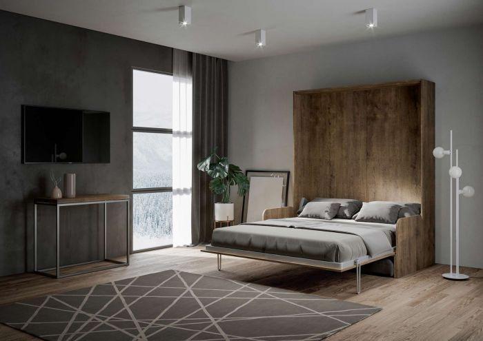 Armoire lit escamotable verticale avec canapé bois noyer 160x200 cm Skoda - Photo n°2