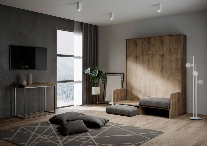 Armoire lit escamotable verticale avec canapé bois noyer 160x200 cm Skoda - Photo n°3