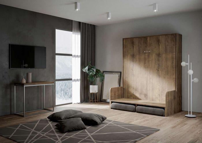 Armoire lit escamotable verticale avec canapé bois noyer 160x200 cm Skoda - Photo n°4