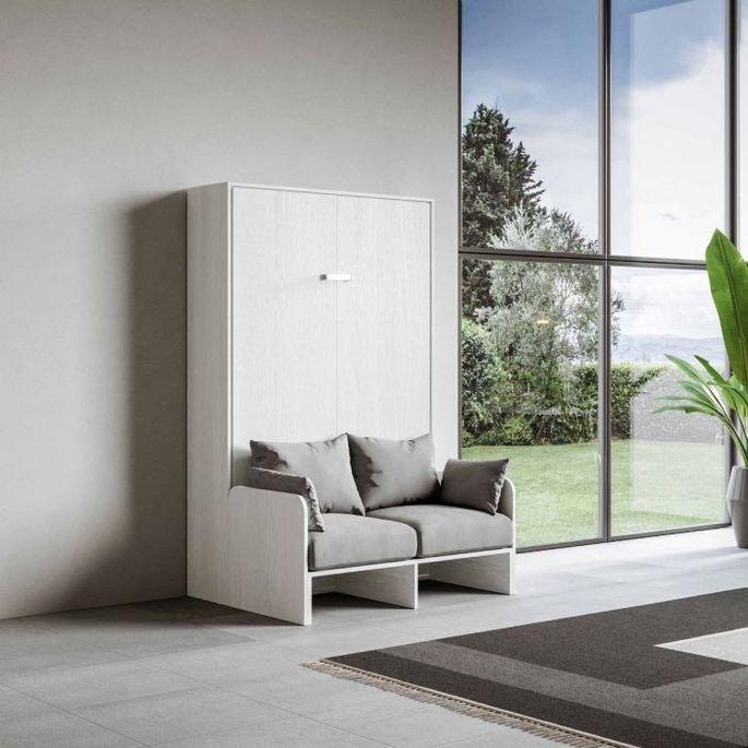 Armoire lit escamotable verticale avec canapé frêne blanc mat 140x190 cm Skoda - Photo n°8
