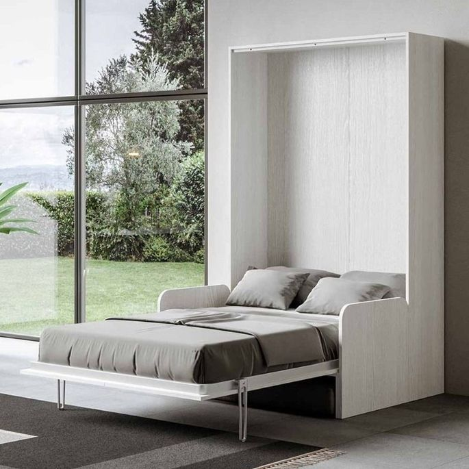 Armoire lit escamotable verticale avec canapé frêne blanc mat 160x200 cm Skoda - Photo n°10