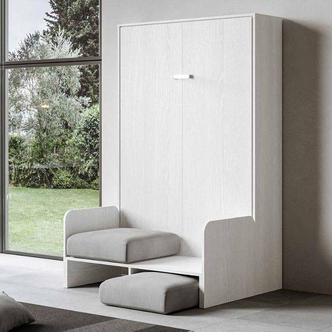 Armoire lit escamotable verticale avec canapé frêne blanc mat 160x200 cm Skoda - Photo n°11