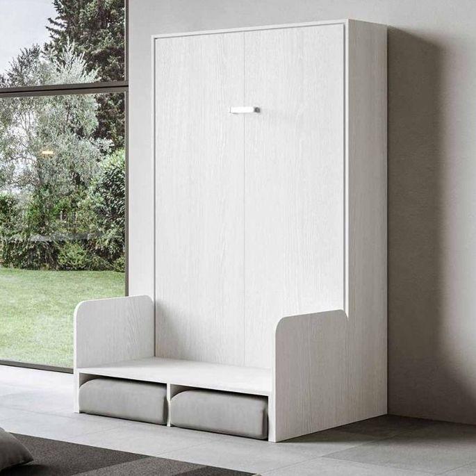 Armoire lit escamotable verticale avec canapé frêne blanc mat 160x200 cm Skoda - Photo n°12