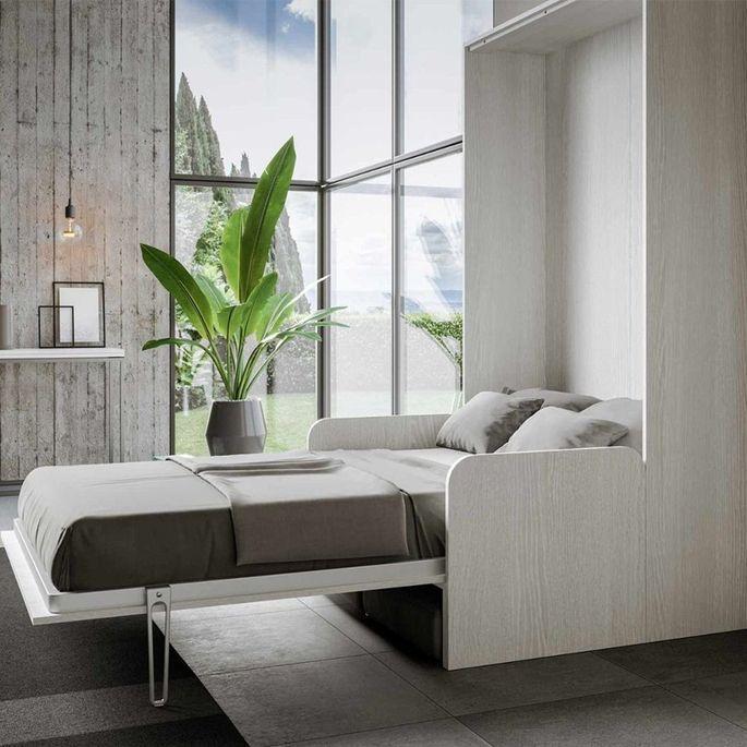 Armoire lit escamotable verticale avec canapé frêne blanc mat 160x200 cm Skoda - Photo n°13