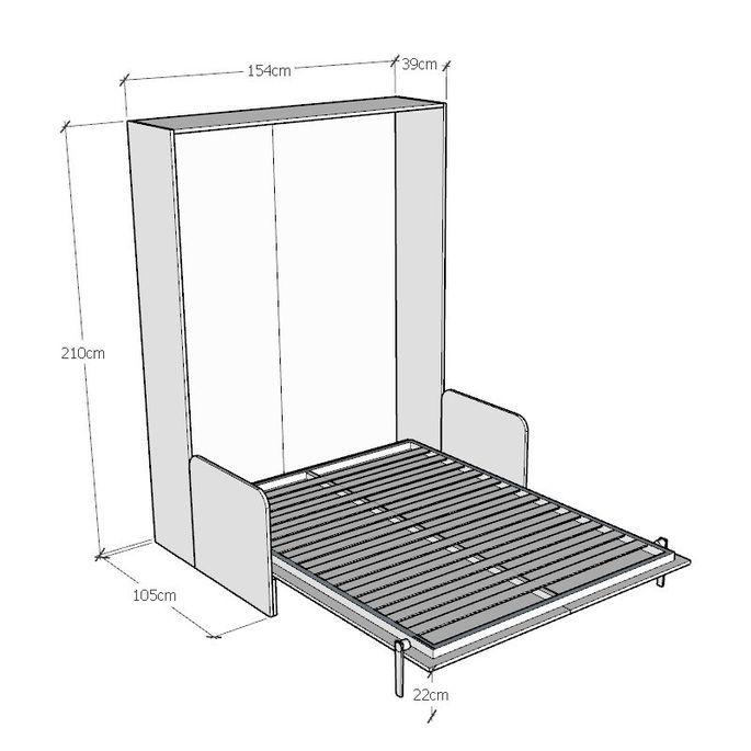 Armoire lit escamotable verticale avec canapé frêne blanc mat 160x200 cm Skoda - Photo n°8