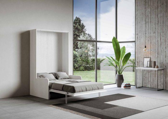 Armoire lit escamotable verticale avec canapé frêne blanc mat 160x200 cm Skoda - Photo n°2