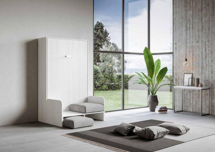 Armoire lit escamotable verticale avec canapé frêne blanc mat 160x200 cm Skoda - Photo n°3