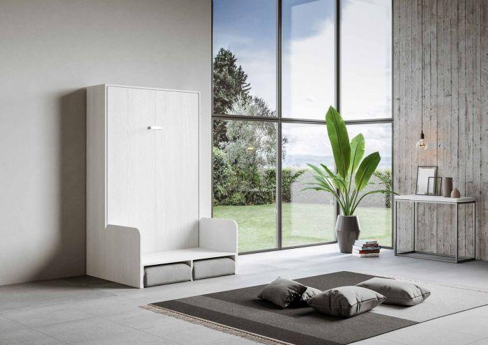 Armoire lit escamotable verticale avec canapé frêne blanc mat 160x200 cm Skoda - Photo n°4