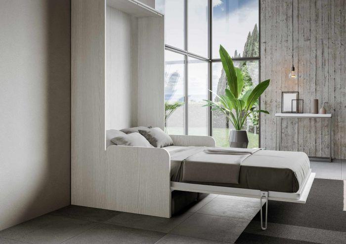 Armoire lit escamotable verticale avec canapé frêne blanc mat 160x200 cm Skoda - Photo n°5