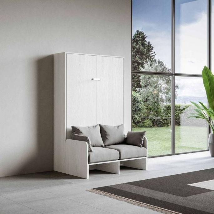 Armoire lit escamotable verticale avec canapé frêne blanc mat 160x200 cm Skoda - Photo n°14