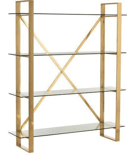 Bibliothèque 4 niveaux métal doré et verre trempé Ysarg - Photo n°1