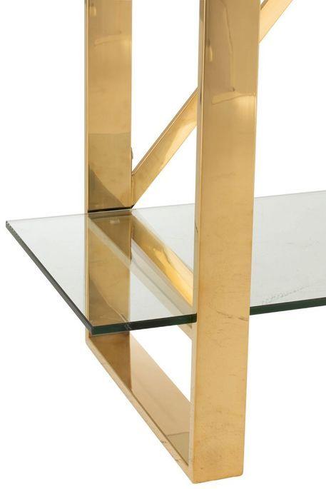 Bibliothèque 4 niveaux métal doré et verre trempé Ysarg - Photo n°4
