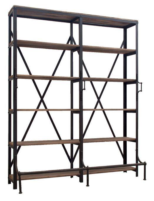 Bibliothèque industrielle 5 étagères bois de Pin massif et acier noir Stone 180 cm - Photo n°2