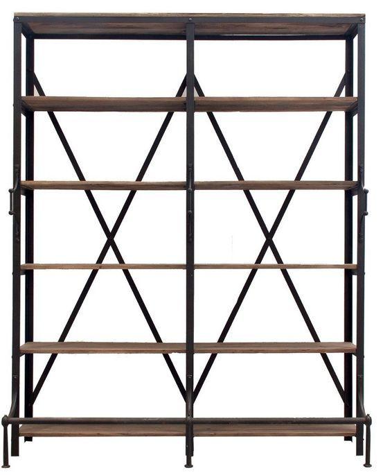 Bibliothèque industrielle 5 étagères bois de Pin massif et acier noir Stone 180 cm - Photo n°1