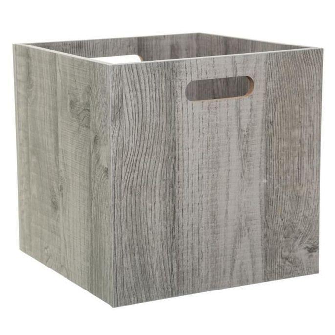Boîte de rangement 31x31 cm - Bois gris - Photo n°1