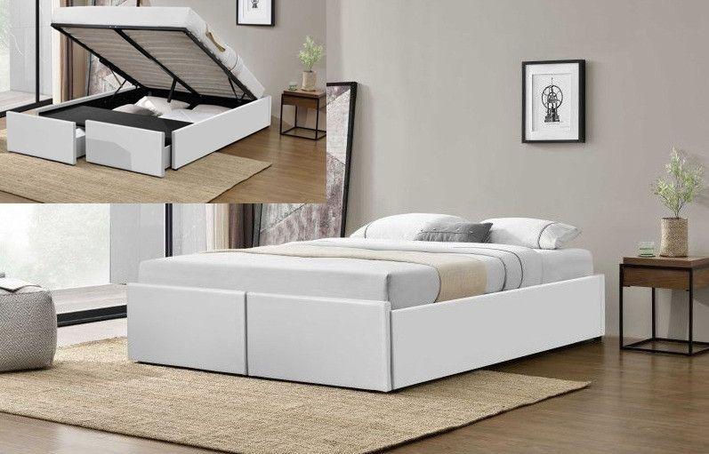 Cadre de lit avec coffre et 2 tiroirs 180x200 cm simili cuir blanc Karmi - Photo n°3