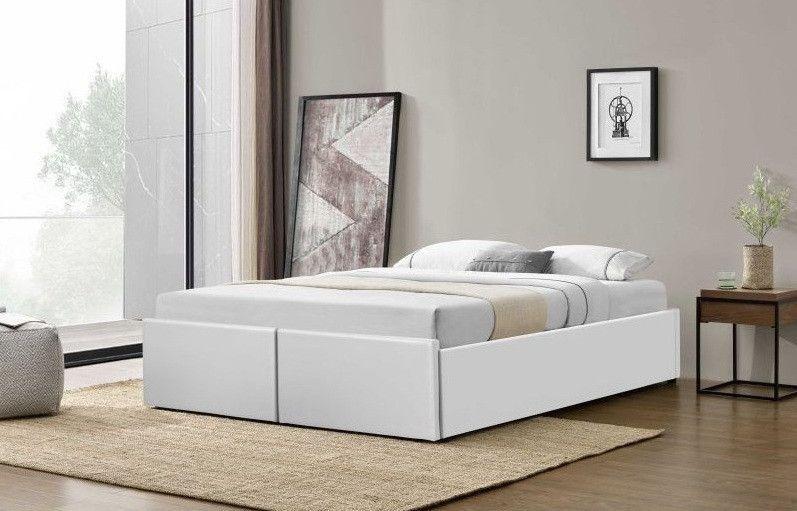 Cadre de lit avec coffre et 2 tiroirs 180x200 cm simili cuir blanc Karmi - Photo n°4