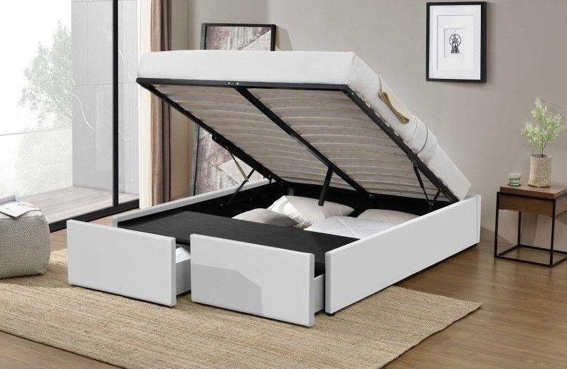 Cadre de lit avec coffre et 2 tiroirs 180x200 cm simili cuir blanc Karmi - Photo n°2