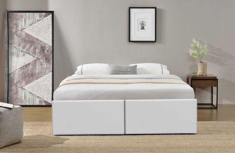 Cadre de lit avec coffre et 2 tiroirs 180x200 cm simili cuir blanc Karmi - Photo n°5