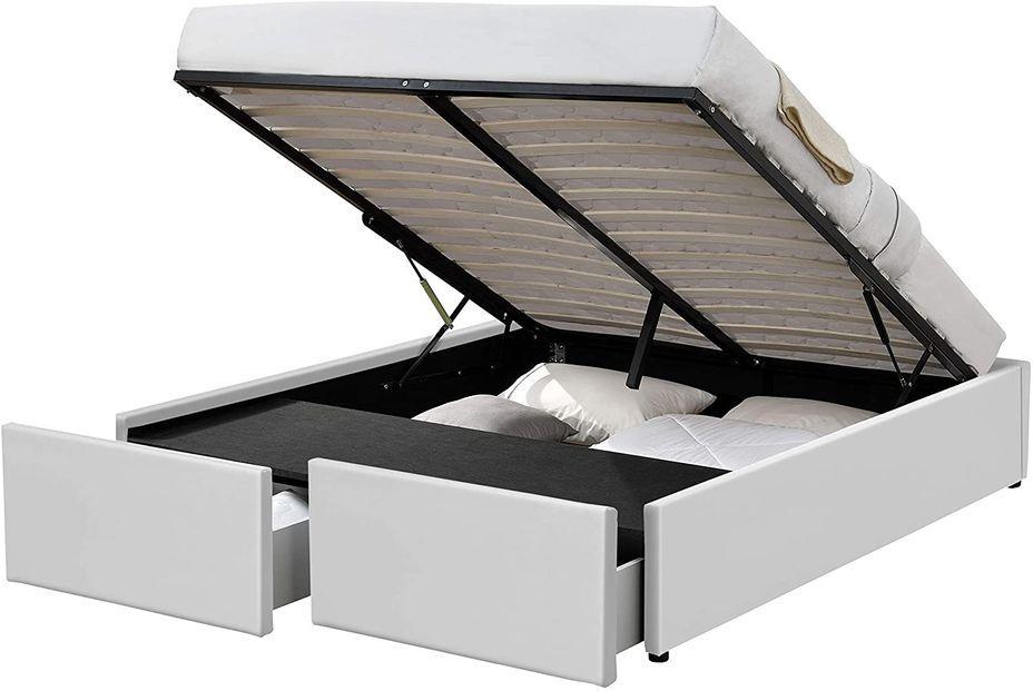 Cadre de lit avec coffre et 2 tiroirs 180x200 cm simili cuir blanc Karmi - Photo n°1
