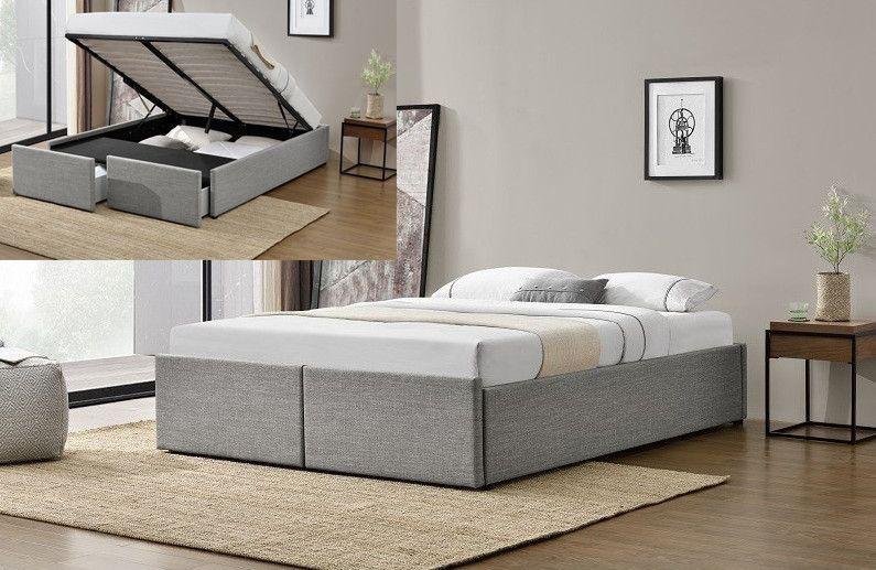 Cadre de lit avec coffre et 2 tiroirs 180x200 cm tissu lin gris clair Karmi - Photo n°3