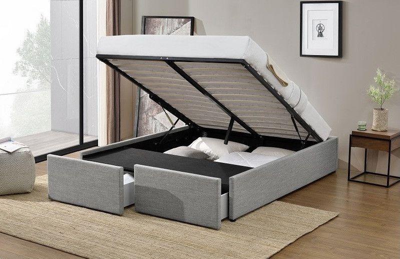 Cadre de lit avec coffre et 2 tiroirs 180x200 cm tissu lin gris clair Karmi - Photo n°2