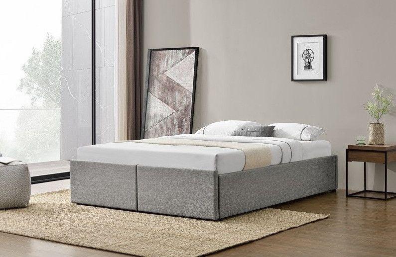 Cadre de lit avec coffre et 2 tiroirs 180x200 cm tissu lin gris clair Karmi - Photo n°4