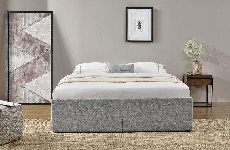 Cadre de lit avec coffre et 2 tiroirs 180x200 cm tissu lin gris clair Karmi - Photo n°5