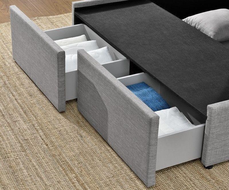 Cadre de lit avec coffre et 2 tiroirs 180x200 cm tissu lin gris clair Karmi - Photo n°6