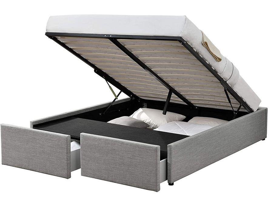 Cadre de lit avec coffre et 2 tiroirs 180x200 cm tissu lin gris clair Karmi - Photo n°1