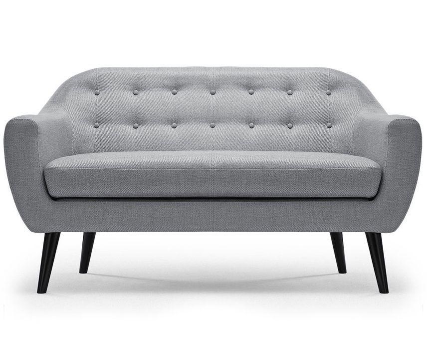 Canapé 2 places tissu gris clair et pieds bois noir Lalis - Photo n°1