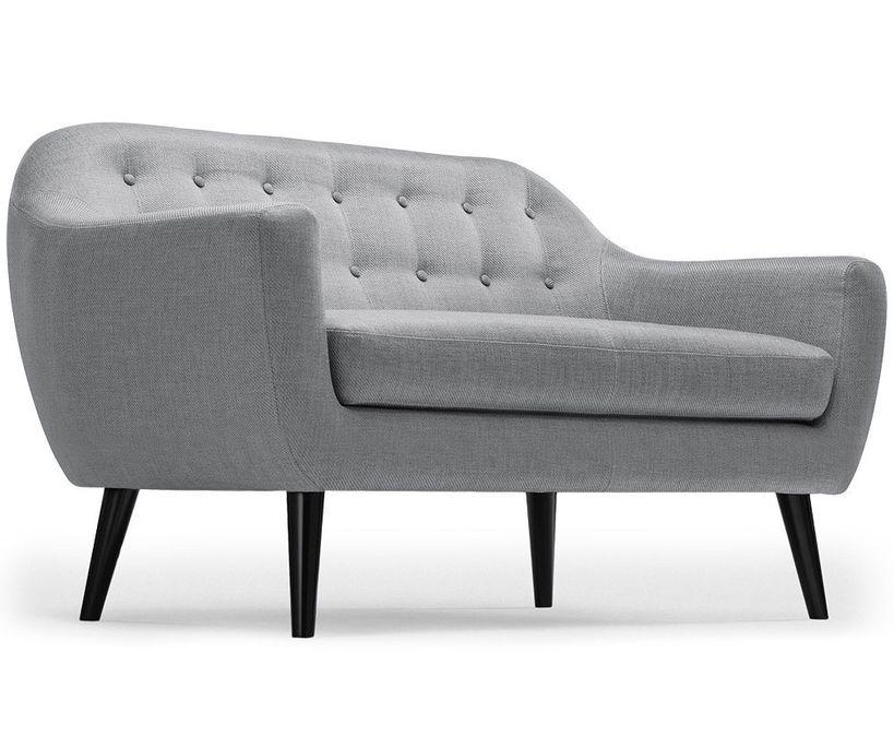 Canapé 2 places tissu gris clair et pieds bois noir Lalis - Photo n°2