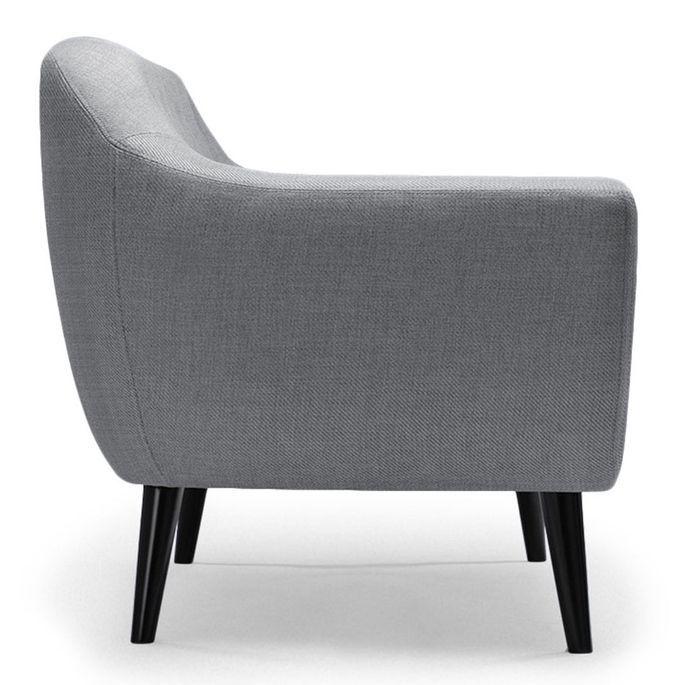 Canapé 2 places tissu gris clair et pieds bois noir Lalis - Photo n°3