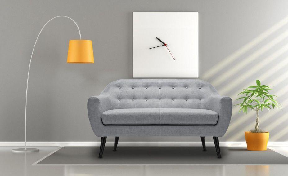 Canapé 2 places tissu gris clair et pieds bois noir Lalis - Photo n°4