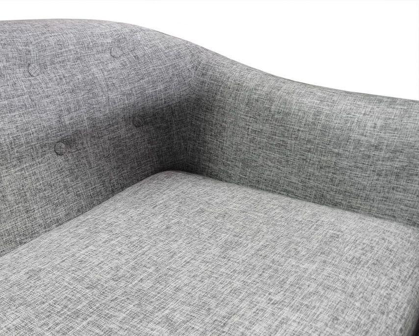 Canapé 2 places tissu gris clair et pieds bois noir Lalis - Photo n°6