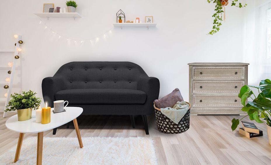 Canapé 2 places tissu noir et pieds bois noir Lalis - Photo n°4