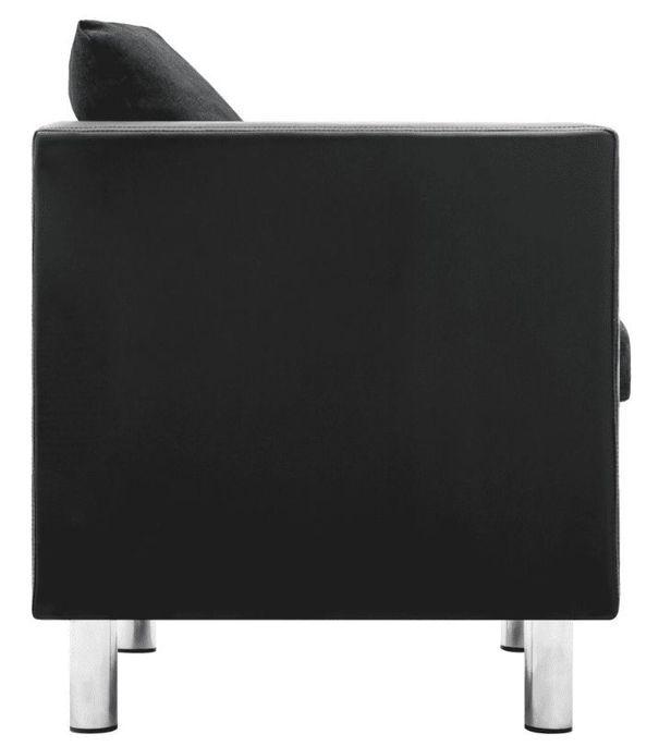Canapé 3 places simili cuir noir et gris foncé Salma - Photo n°4
