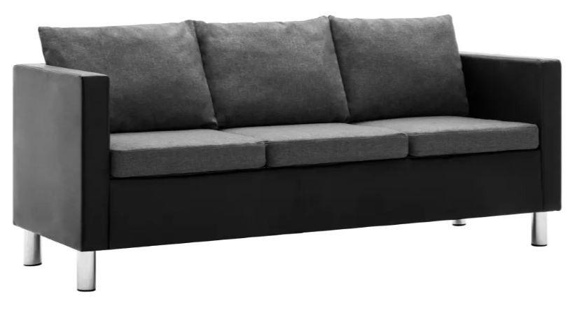 Canapé 3 places simili cuir noir et gris Salma - Photo n°1