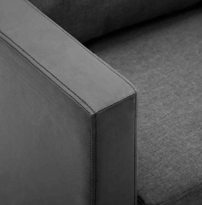 Canapé 3 places simili cuir noir et gris Salma - Photo n°2