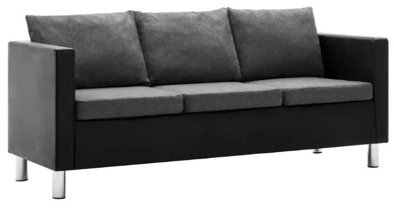 Canapé 3 places simili cuir noir et gris Salma - Photo n°3