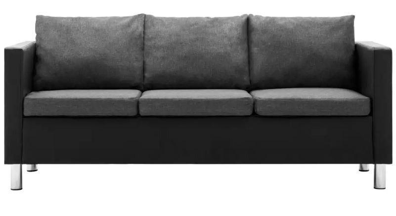 Canapé 3 places simili cuir noir et gris Salma - Photo n°4