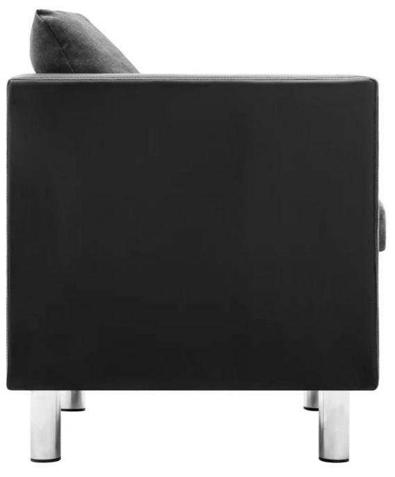 Canapé 3 places simili cuir noir et gris Salma - Photo n°5