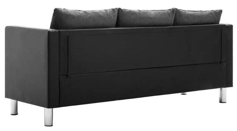 Canapé 3 places simili cuir noir et gris Salma - Photo n°6