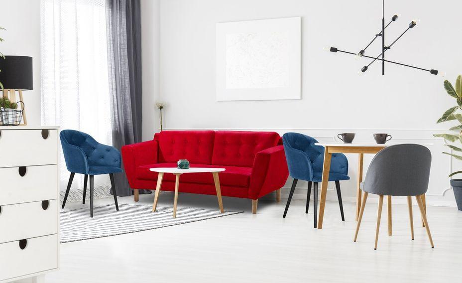 Canapé scandinave 3 places tissu rouge Mondo - Photo n°2