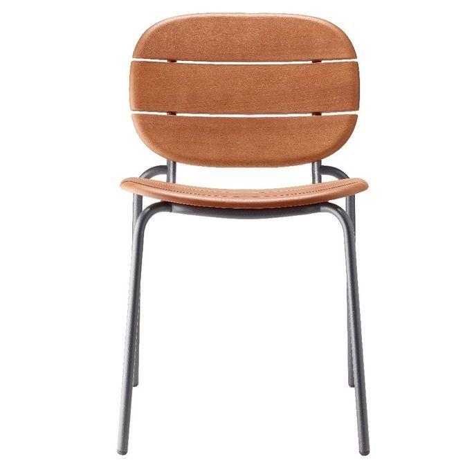 Chaise acajou foncé et pieds métal gris Si-Si Wood - Lot de 2 - Photo n°2