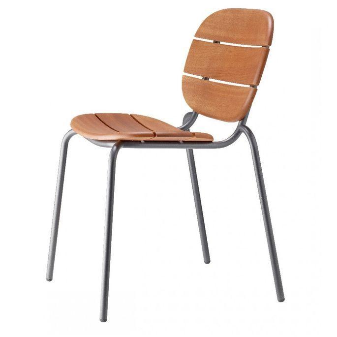 Chaise acajou foncé et pieds métal gris Si-Si Wood - Lot de 2 - Photo n°3