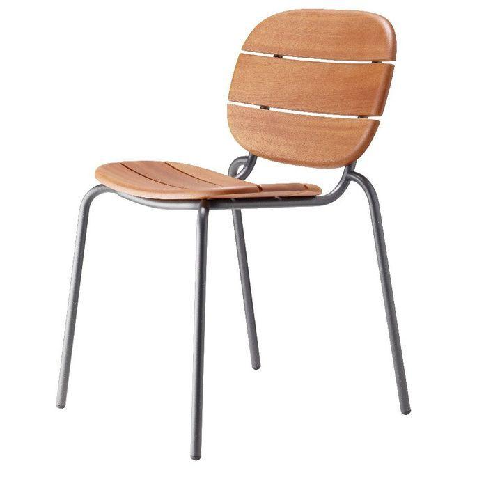 Chaise acajou foncé et pieds métal gris Si-Si Wood - Lot de 2 - Photo n°1