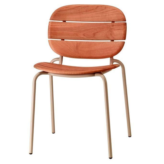 Chaise acajou foncé et pieds métal taupe Si-Si Wood - Lot de 2 - Photo n°1
