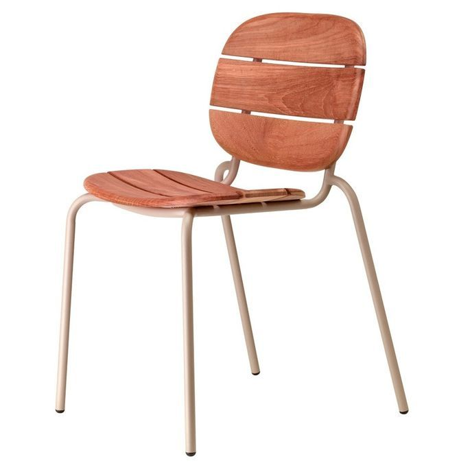 Chaise acajou foncé et pieds métal taupe Si-Si Wood - Lot de 2 - Photo n°2