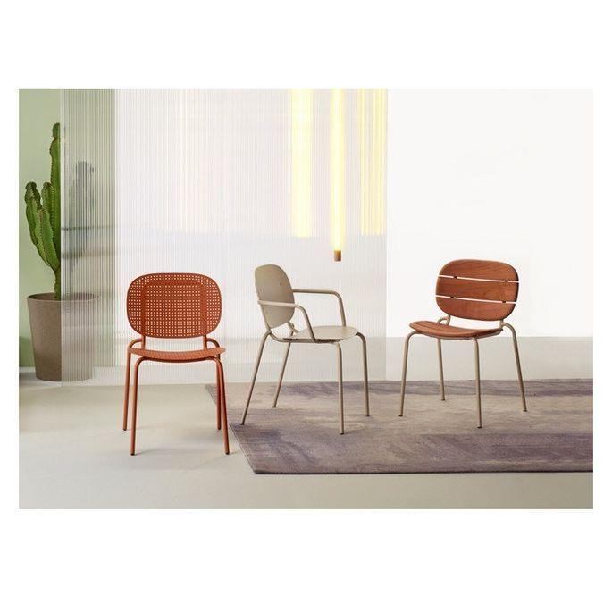 Chaise acajou foncé et pieds métal taupe Si-Si Wood - Lot de 2 - Photo n°4